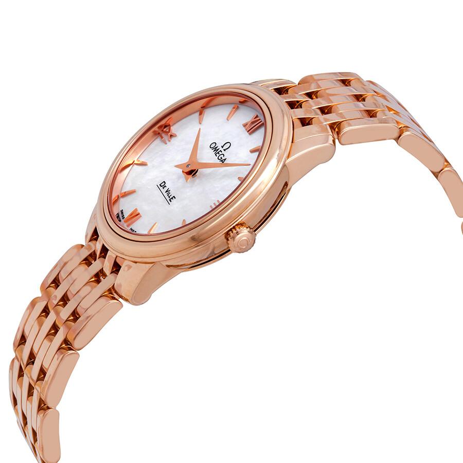 6efe1510110 Omega De Ville Prestige 18k Rose Gold White Mother of Pearl Dial Ladies  Watch 424.50.