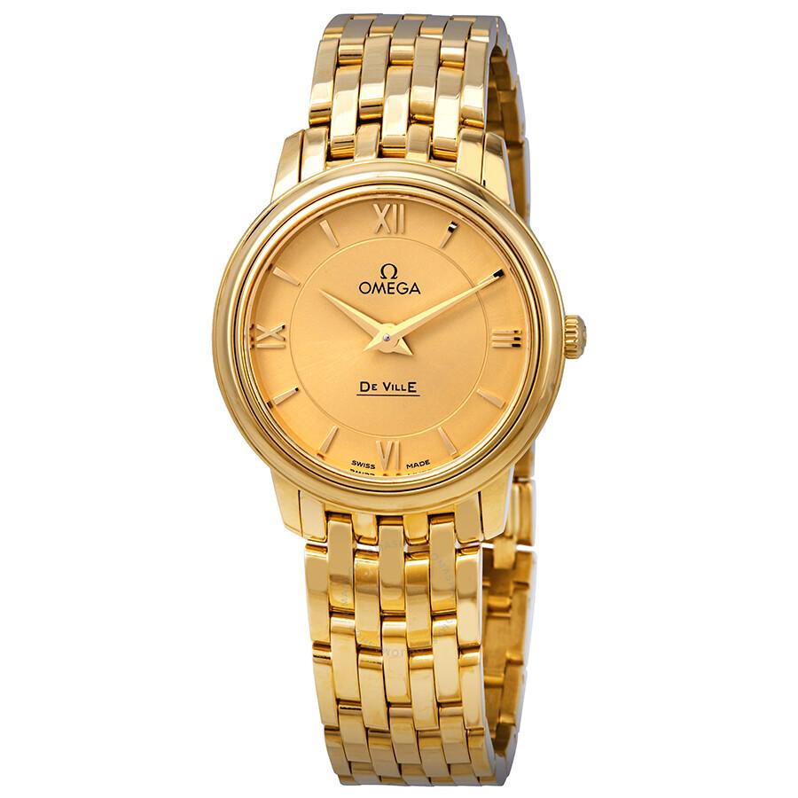 21a4d4a5244 Omega De Ville Prestige 18kt Yellow Gold Champagne Dial Ladies Watch  424.50.27.60.08.001 ...