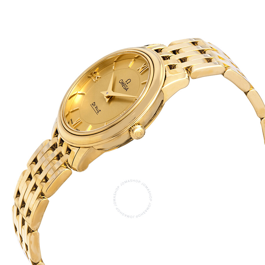 487b2682b2b ... Omega De Ville Prestige 18kt Yellow Gold Champagne Dial Ladies Watch  424.50.27.60.08.001 ...