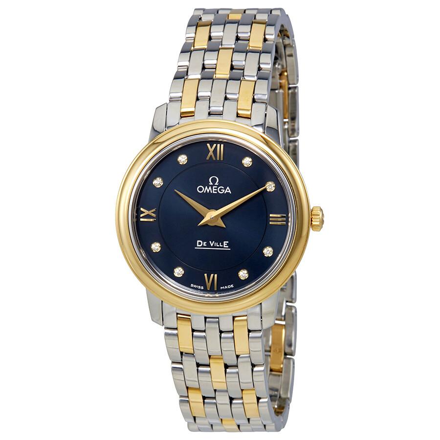 94787a2cbf50 Omega De Ville Prestige Blue Dial Two-tone Stainless Steel Quartz Ladies  Watch 424.20.