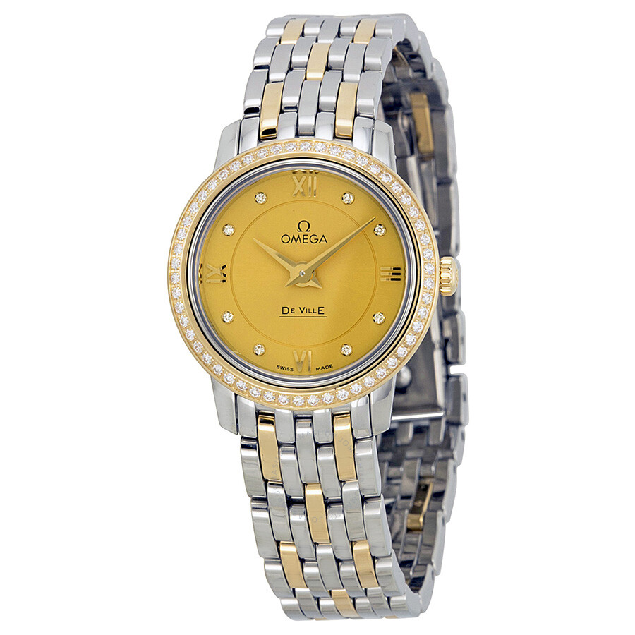 e686d1bf0a3 Omega De Ville Prestige Champagne Diamond Dial Steel and Yellow Gold Ladies  Watch 42425246058001 Item No. 424.25.24.60.58.001