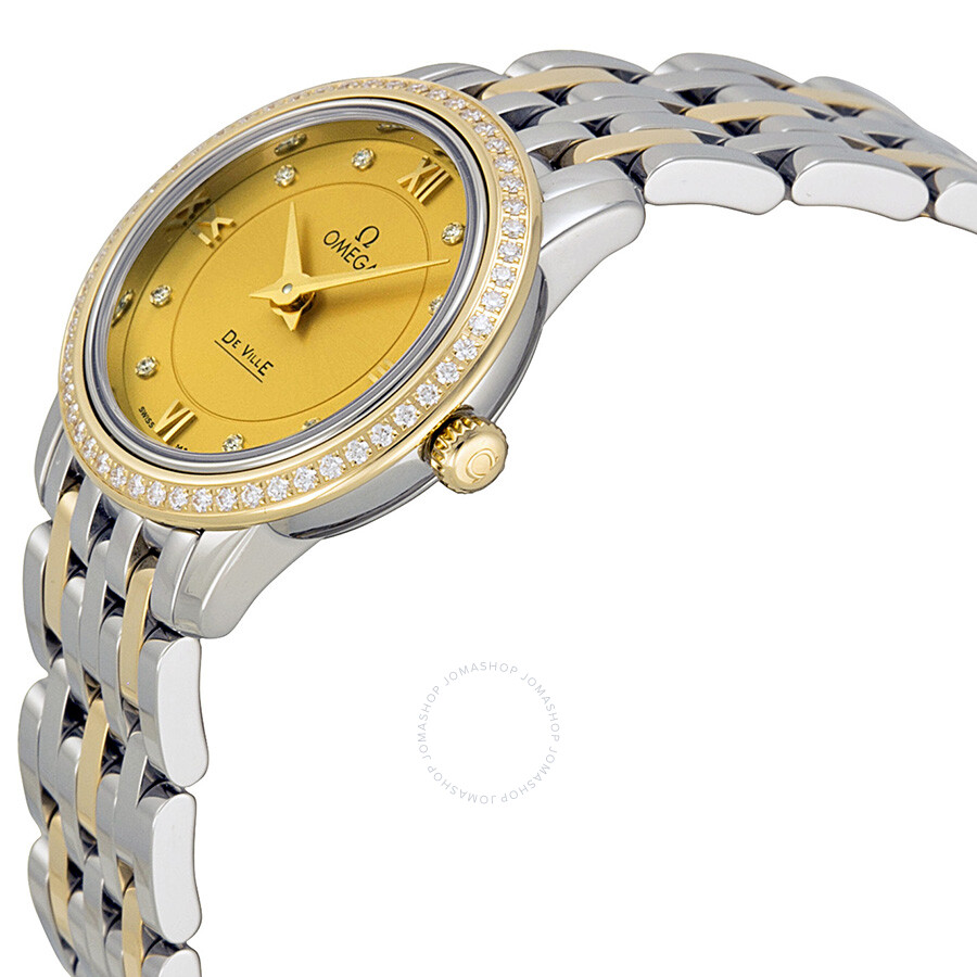 5c47832eb2a ... Omega De Ville Prestige Champagne Diamond Dial Steel and Yellow Gold  Ladies Watch 42425246058001 ...