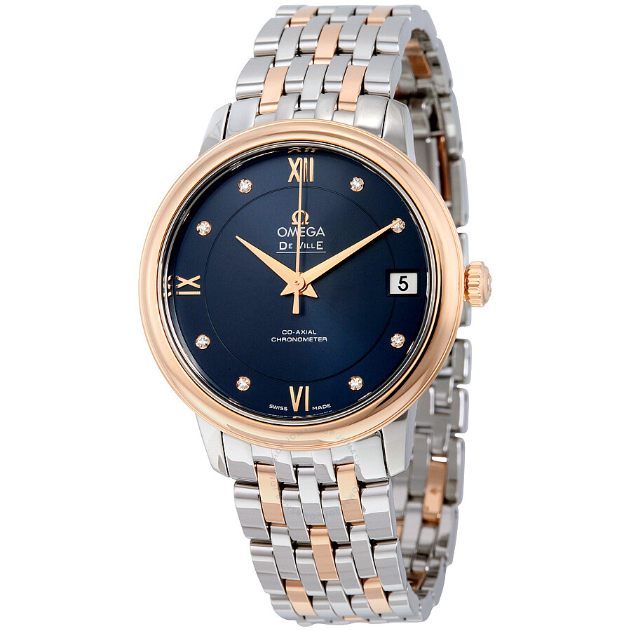 Omega de ville prestige co axial automatic blue dial stainless steel and 18kt rose gold ladies for Watches rose gold