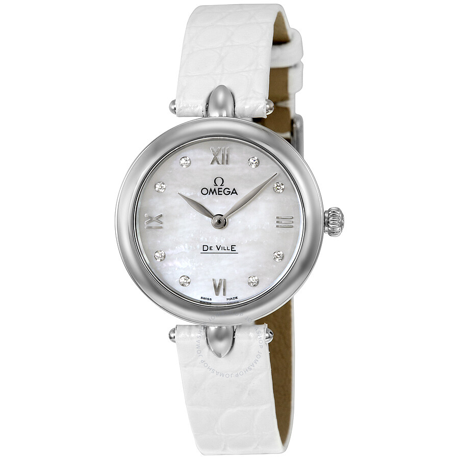 Omega De Ville Prestige Mother of Pearl Diamond Dial Leather Strap Ladies  Watch 424.13.27.60 ... 83e76ade3