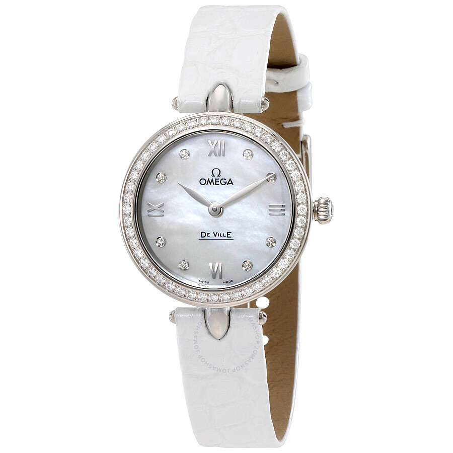 867bf973392 Omega De Ville Prestige Mother of Pearl Diamond Dial Stainless Steel Ladies  Watch 424.18.27.60 ...
