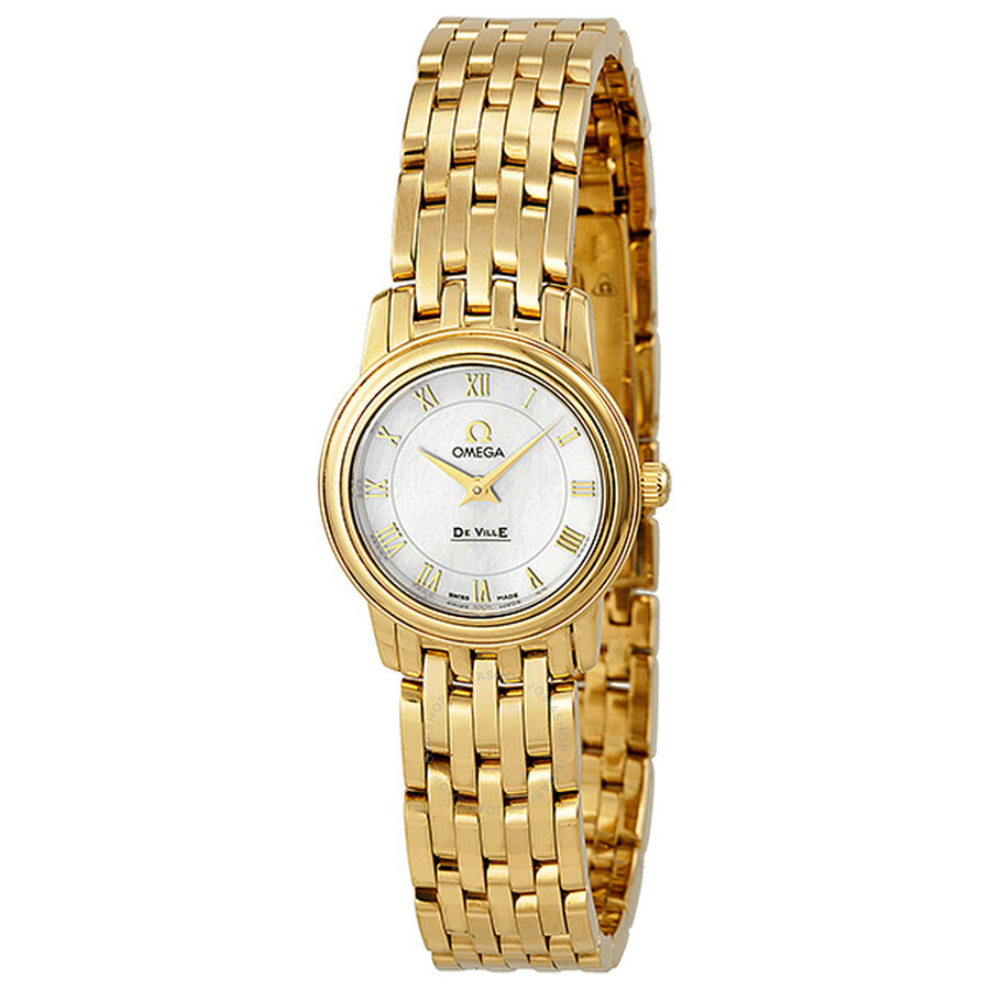 b793d385903 Omega De Ville Prestige Mother of Pearl Yellow Gold Ladies Watch 4170.71 ...