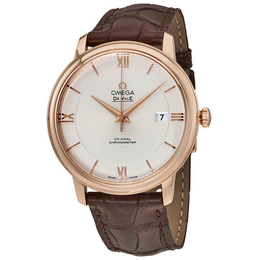 Omega Deville Co Axial Automatic Silver Dial Rose Gold Brown Leather