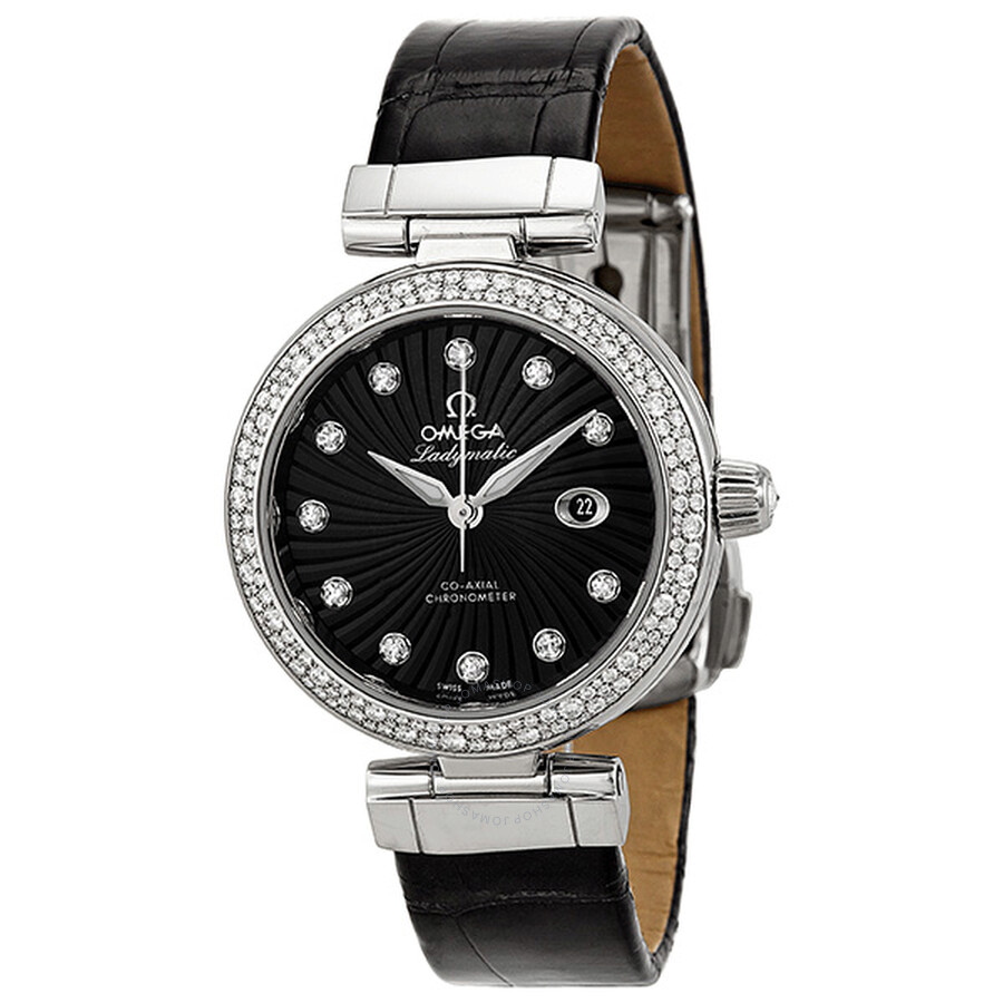 Omega DeVille Ladymatic Black Diamond Dial Stainless Steel Black Leather Ladies  Watch Item No. 425.38.34.20.51.001 6ed596aef