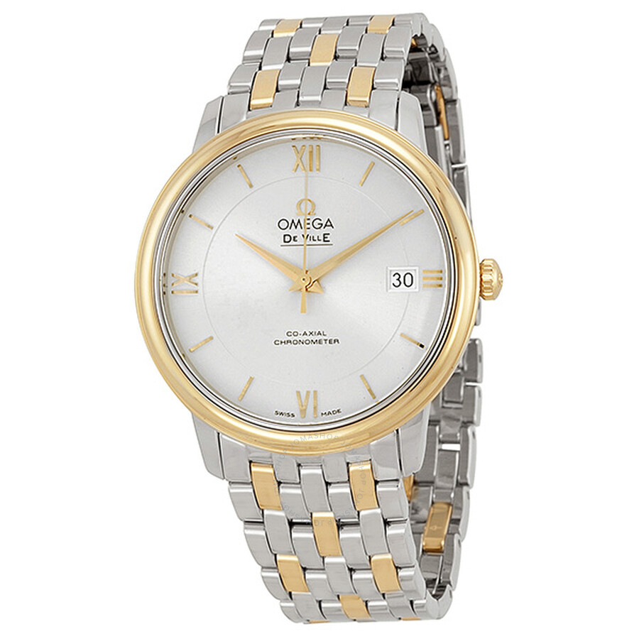 omega prestige silver steel and yellow gold