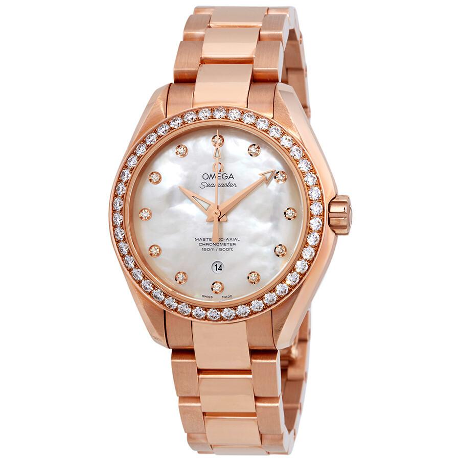 Omega seamaster 18 carat rose gold ladies diamond watch seamaster omega for Watches rose gold