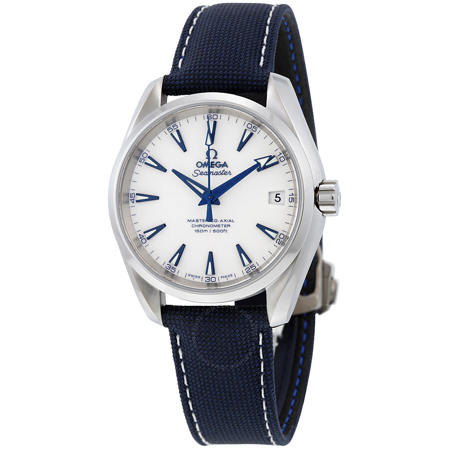 Omega Seamaster Aqua Terra Automatic White Dial Blue Nylon