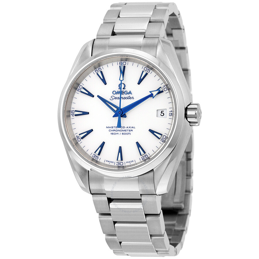 Omega Seamaster Aqua Terra White Dial Stainless Steel Automatic Men's Watch  23190392104001 ...