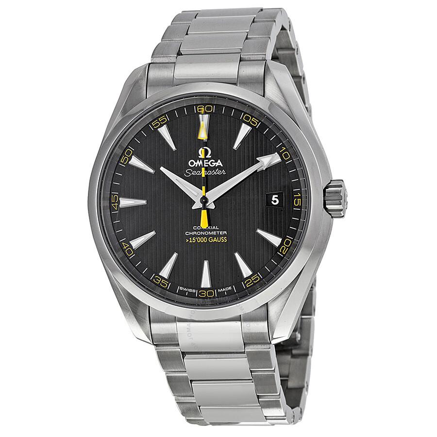 Omega seamaster aqua terra black dial men 39 s watch 23110422101002 seamaster aqua terra omega for Omega watch seamaster