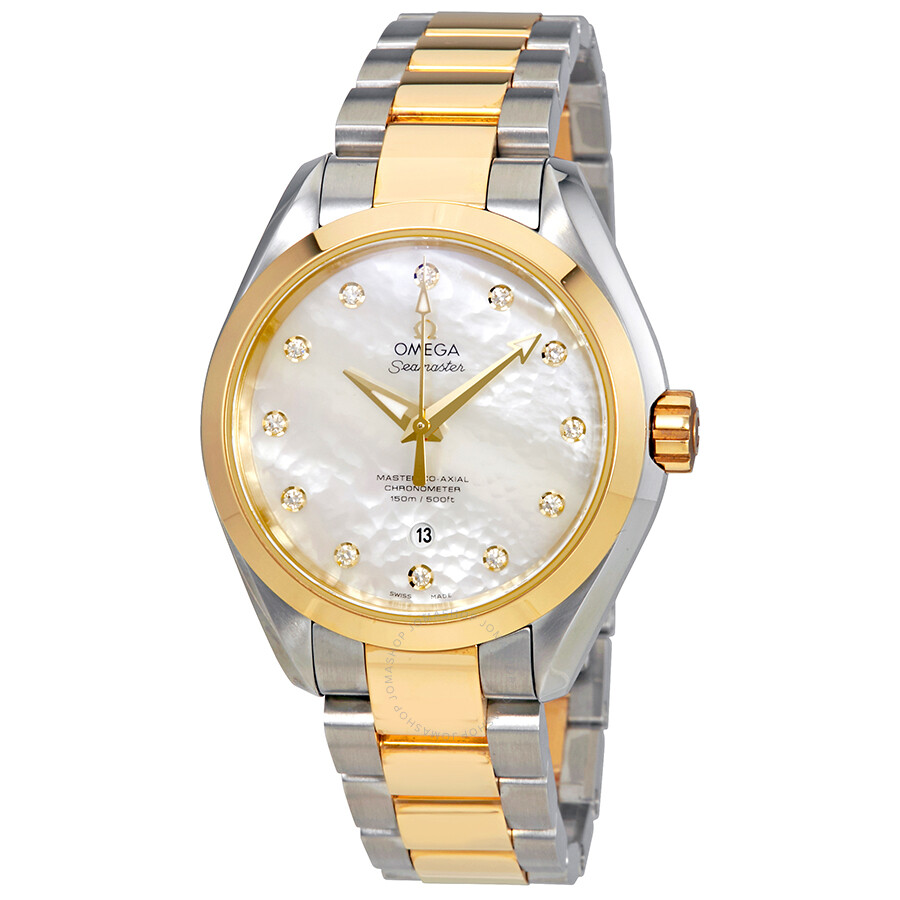 95db13a98355d Omega Seamaster Aqua Terra Automatic Diamond White Mother of Pearl Dial  Ladies Watch 23120342055002 ...