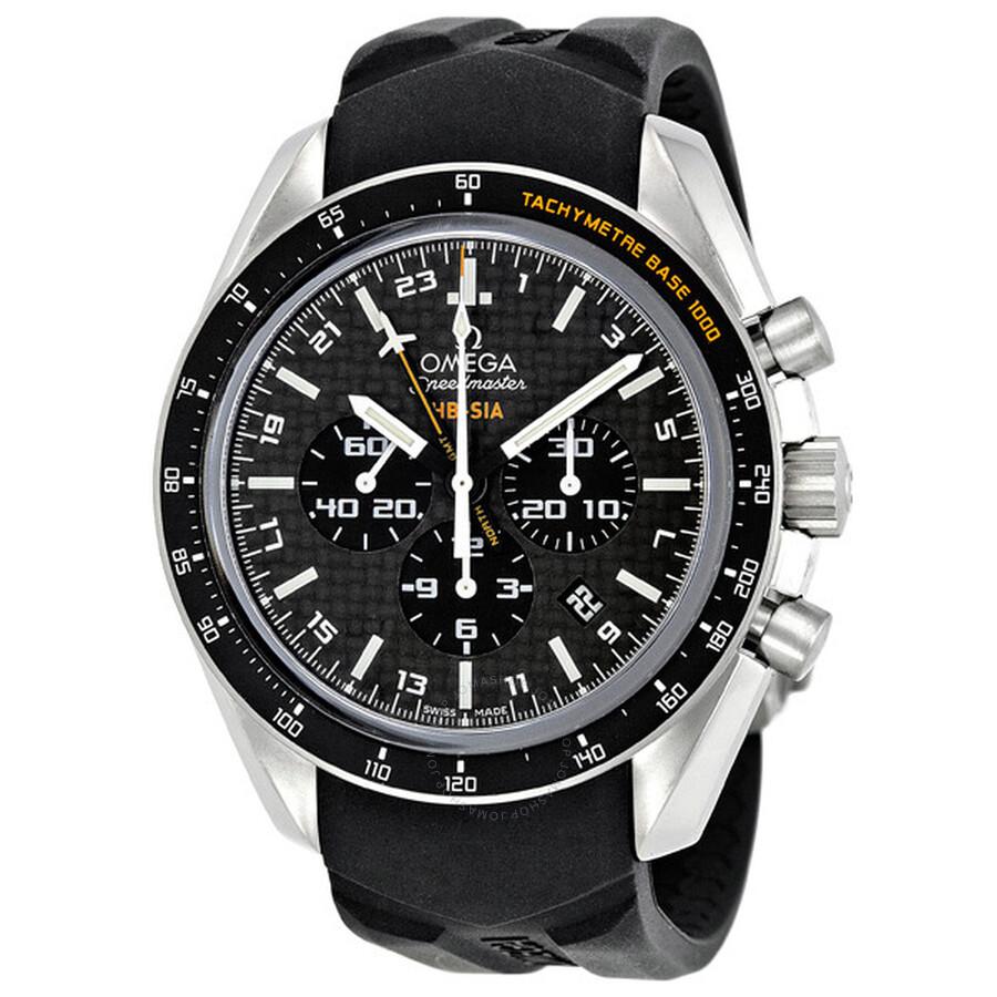 254a1a5f8d5a Omega Speedmaster Black Carbon Fibre Dial Chronograph GMT Rubber Men s  Watch 321.92.44.52.01.001 ...