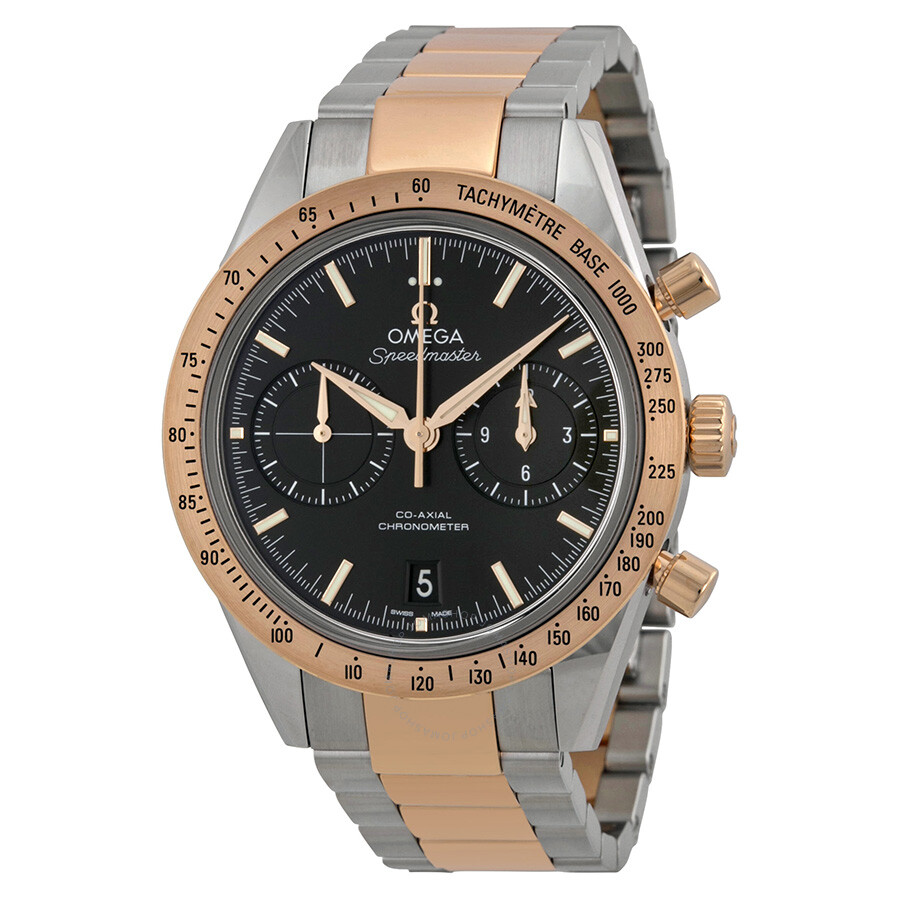 Omega Speedmaster Black Dial Chronograph Steel And 18kt Rose Gold