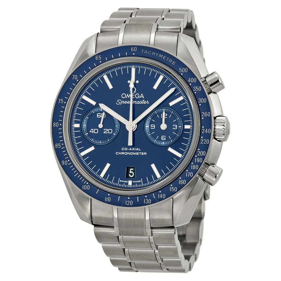 Omega speedmaster moonwatch co axial blue dial titanium case men 39 s watch for Titanium watches