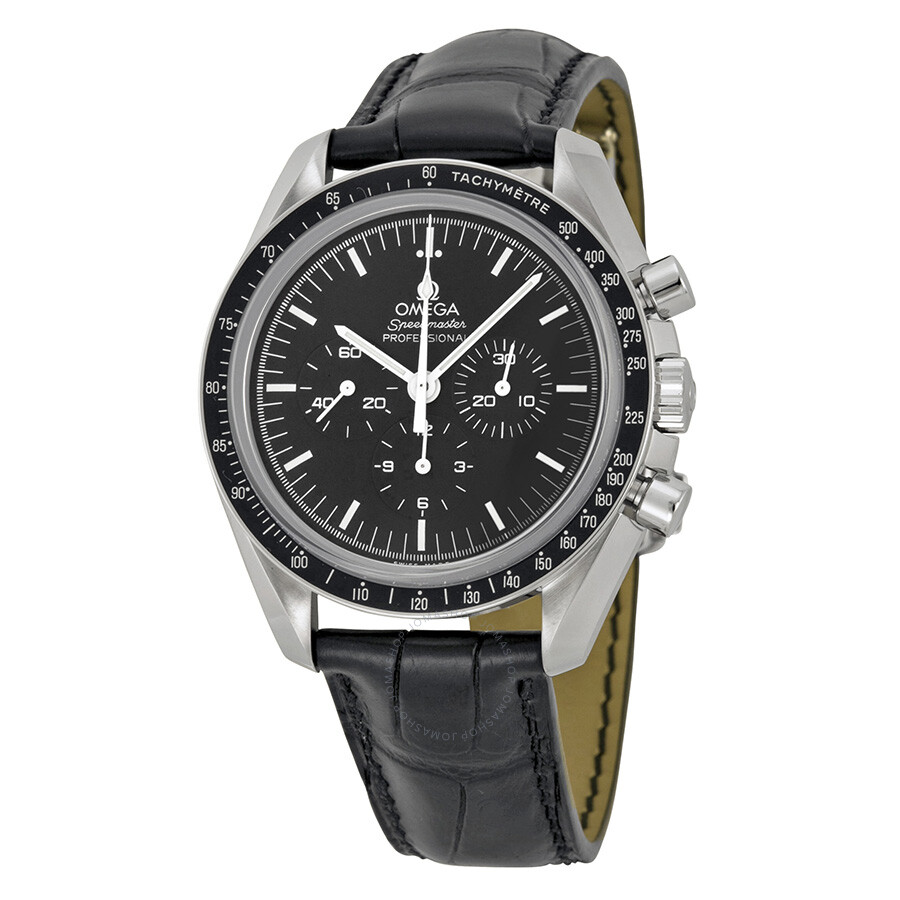 omega speedmaster professional moonwatch chronograph black dial black leather men 39 s watch. Black Bedroom Furniture Sets. Home Design Ideas