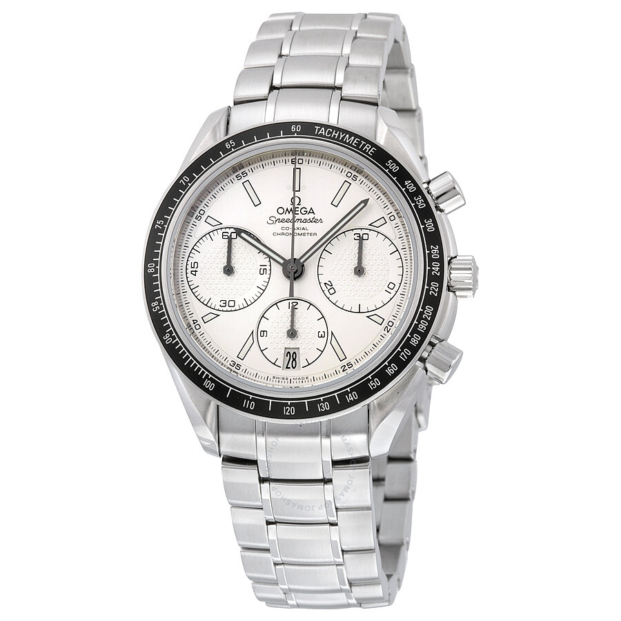 Omega speedmaster racing automatic chronograph silver dial stainless steel men 39 s watch for Omega watch speedmaster