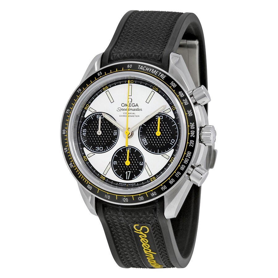 omega speedmaster racing automatic chronograph white dial