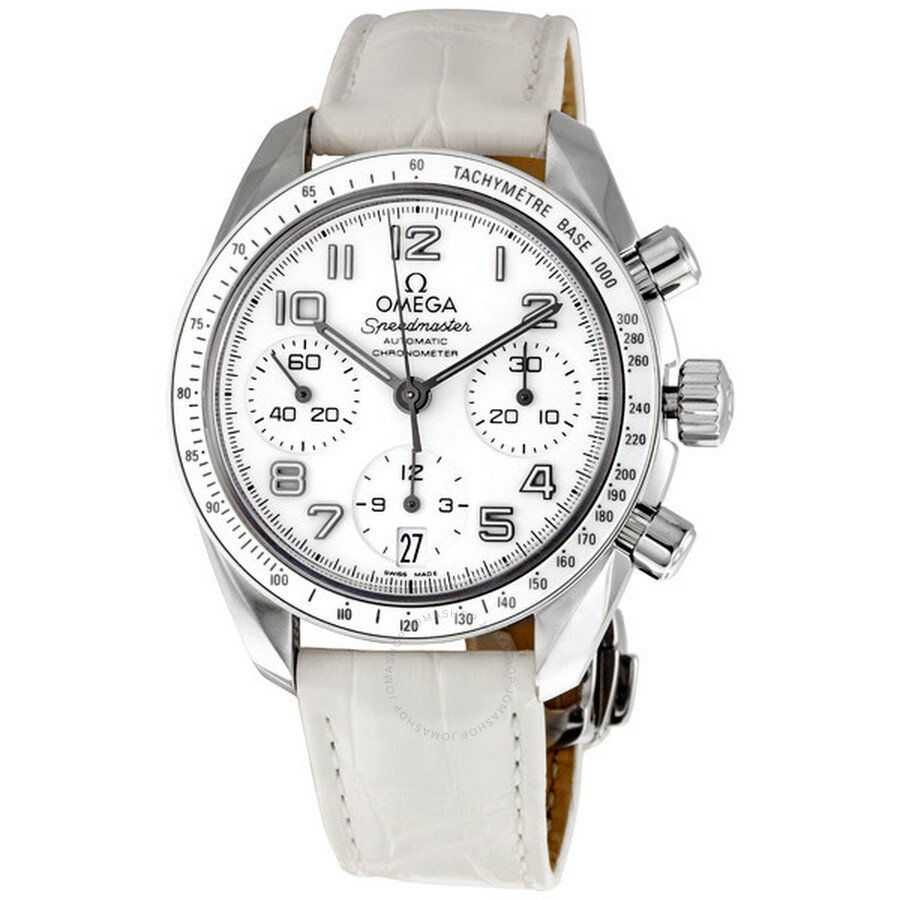 Omega Speedmaster White Dial Chronograph Ladies Watch 32433384004001 ... bf4cbaed6e