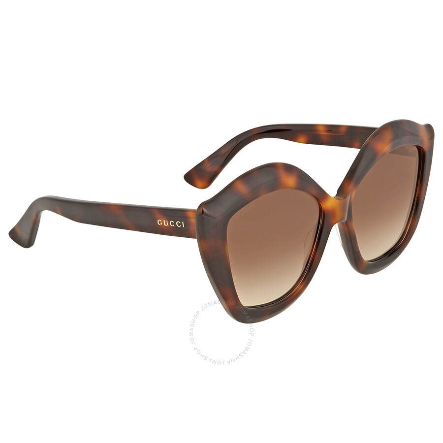 2629cd2812e00 Open Box - Gucci Brown Gradient Cat Eye Ladies Sunglasses GG0117S 002 53 ...