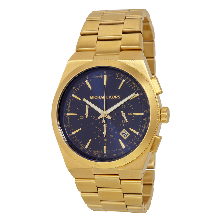 ddc8e6aefa01 Open Box - Michael Kors Brooks Chronograph Blue Dial Gold-tone Men s Watch  MK8338 ...