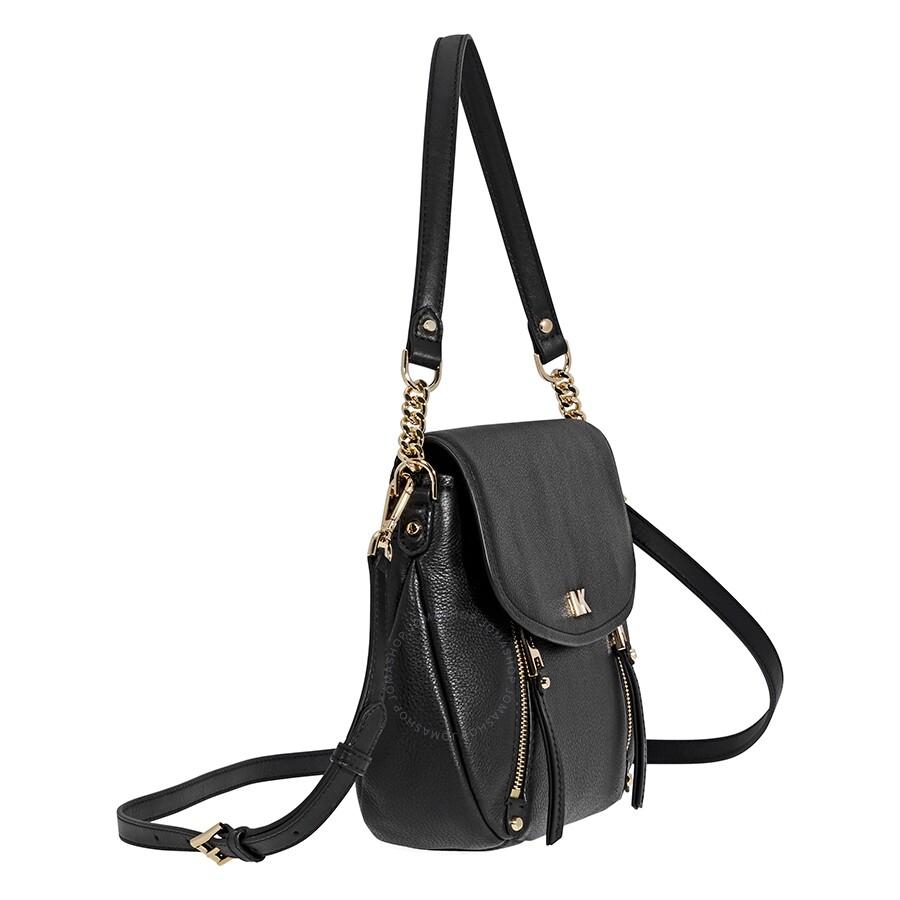 Open Box Michael Kors Evie Medium Learher Shoulder Bag Black