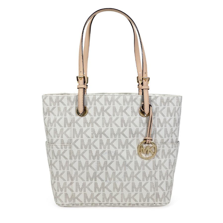 a4febd86fad1e5 Open Box - Michael Kors Jet Set Signature Logo Tote Handbag - Vanilla