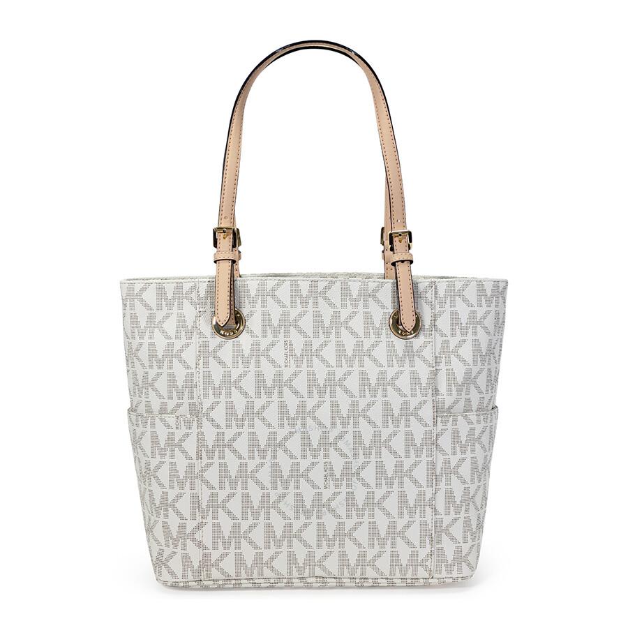 f8913bd733b5 ... shop open box michael kors jet set signature logo tote handbag vanilla  89e38 b5a05