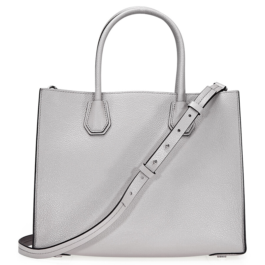 2a13ec01b74a Open Box - Michael Kors Mercer Large Bonded Leather Tote - Pearl Grey