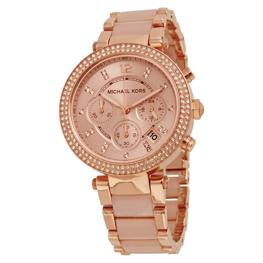 0a0b680b1c6 Open Box - Michael Kors Parker Blush Dial Rose Gold-tone and Blush Acetate  Ladies ...
