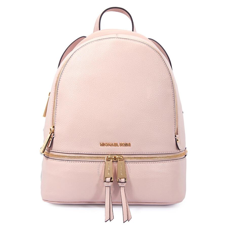bf984230959 Open Box - Michael Kors Rhea Medium Leather Backpack - Soft Pink ...