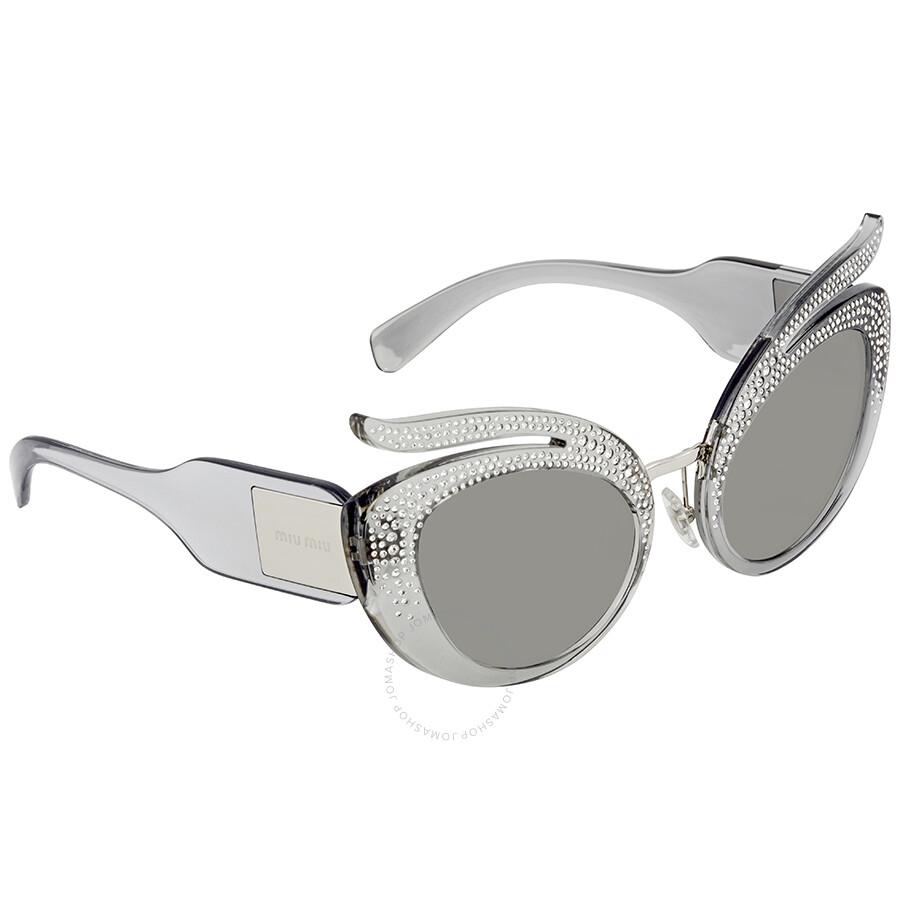 98a4b8521de3 Open Box - Miu Miu Grey Cat Eye Sunglasses MU 04TS 54Z139 53 ...