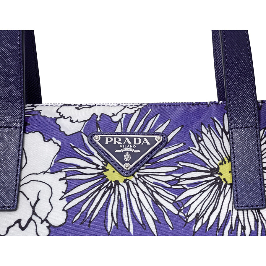 90624646e699 Open Box - Prada Printed Nylon Tote - Bluette Fiore - Handbags ...