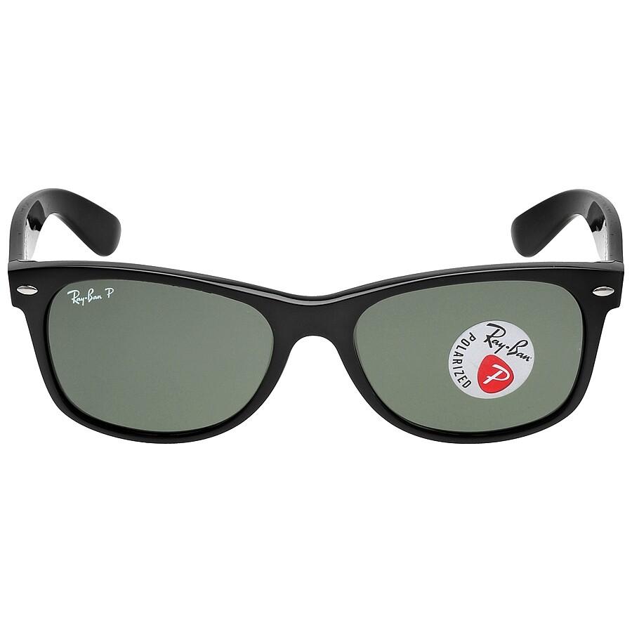 8ea45c095f5 Open Box - Ray Ban New Wayfarer Polarized Green Sunglasses RB2132 901 58 55-  ...