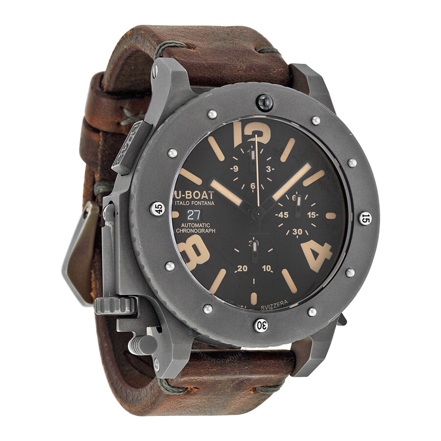 Open Box - U-Boat U-42 Chronograph Automatic Black Dial Men s Watch 6472 ... ddf86e3bb