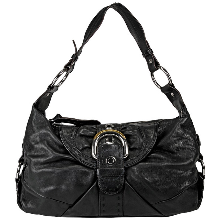 Open Box B Makowsky Black Leather Hobo Purse Bm10410 Bk