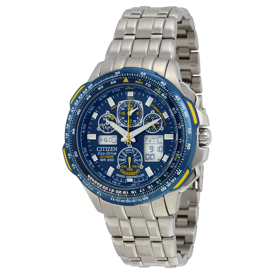 5c8ae578bca Open Box - Citizen Blue Angels Skyhawk A-T Eco Drive Stainless Steel Men s  Watch JY0040- ...