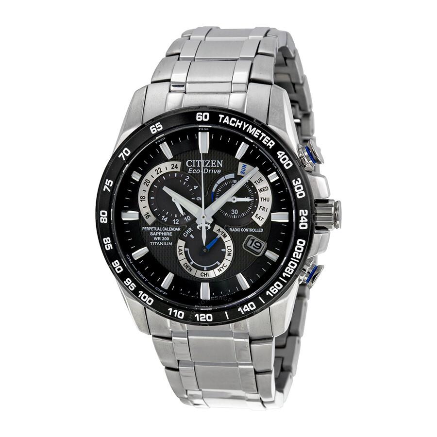 88a99513f8f Open Box - Citizen Perpetual Chrono A-T Eco-Drive Black Dial Titanium Men s  Chronograph Watch ...