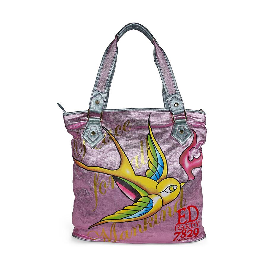 open box ed hardy pink angeles tote bag ehcoang0072 pk