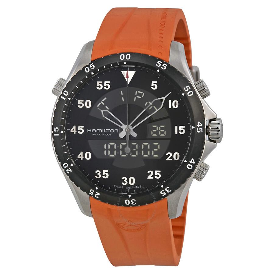 d60333a320d Open Box - Hamilton Khaki Flight Timer Dual Display Chronograph Black Dial  Orange Rubber Men s Watch