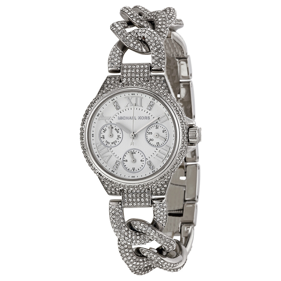 a956e1c7df6 Open Box - Michael Kors Camille Multi-Function Silver Dial Stainless Steel  Crystal-set