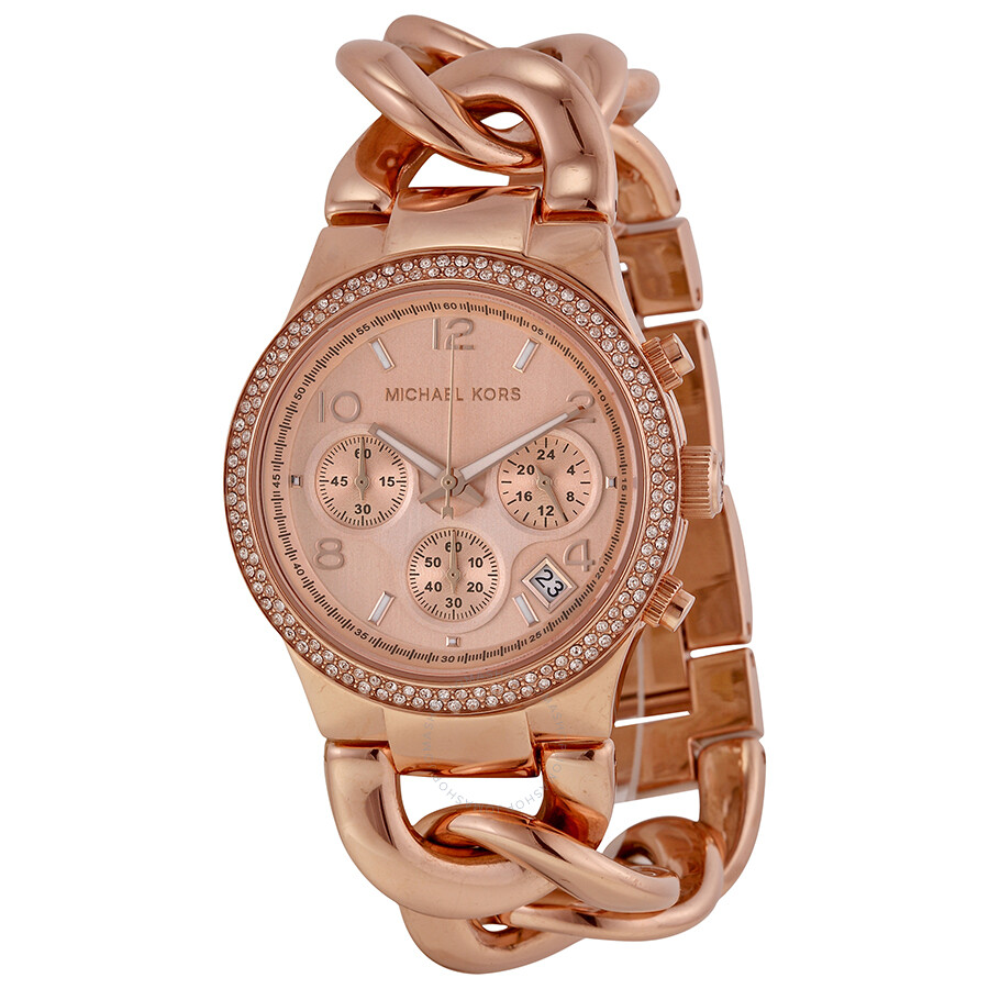 069d91c760bab Open Box - Michael Kors Chronograph Rose Dial Rose Gold Ion-plated Ladies  Watch MK3247