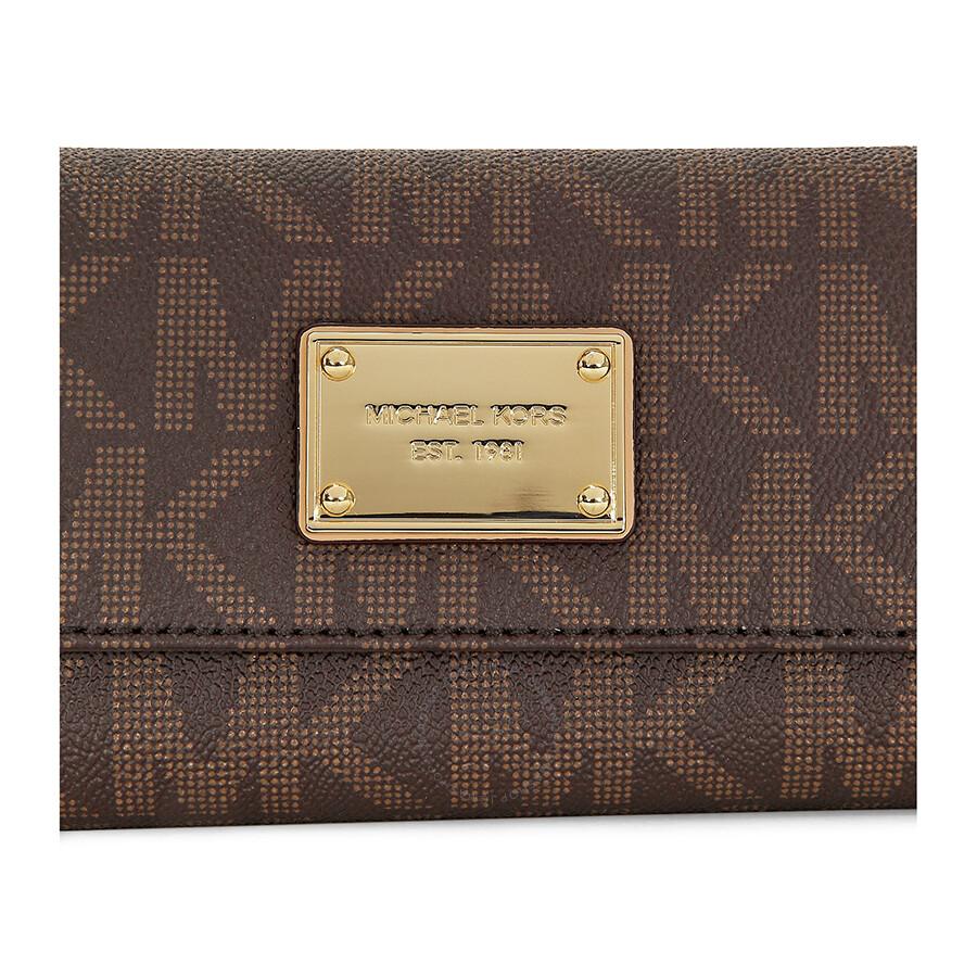 b9e4bbf7992a Open Box - Michael Kors Jet Set Checkbook Wallet in Brown - Jomashop