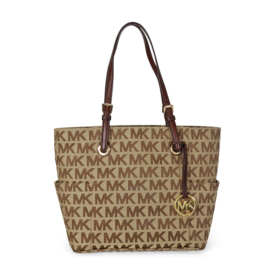 Open Box Michael Kors Jet Set Signature Logo Tote Handbag In Mocha Tan
