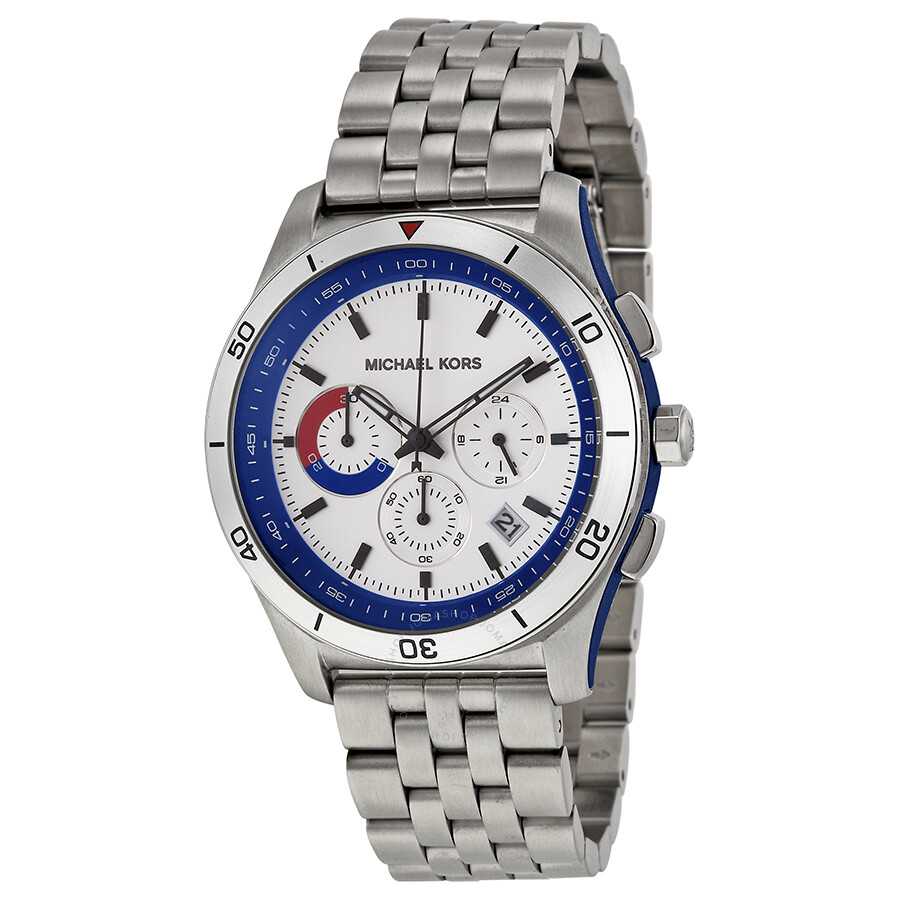 a2ba5c0dc0e0 Open Box - Michael Kors Outrigger Chronograph Silver and Blue Dial  Stainless Steel Men s Watch MK8373 ...