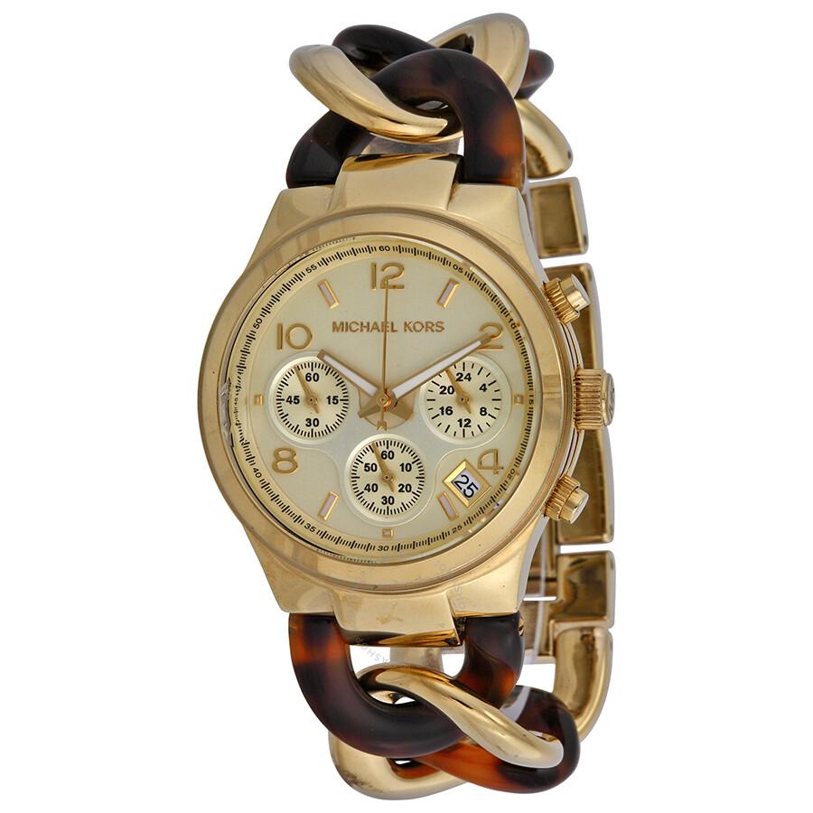 aa31e7057a3f Open Box - Michael Kors Runway Chain Link Acrylic Gold-tone Ladies Watch  MK4222