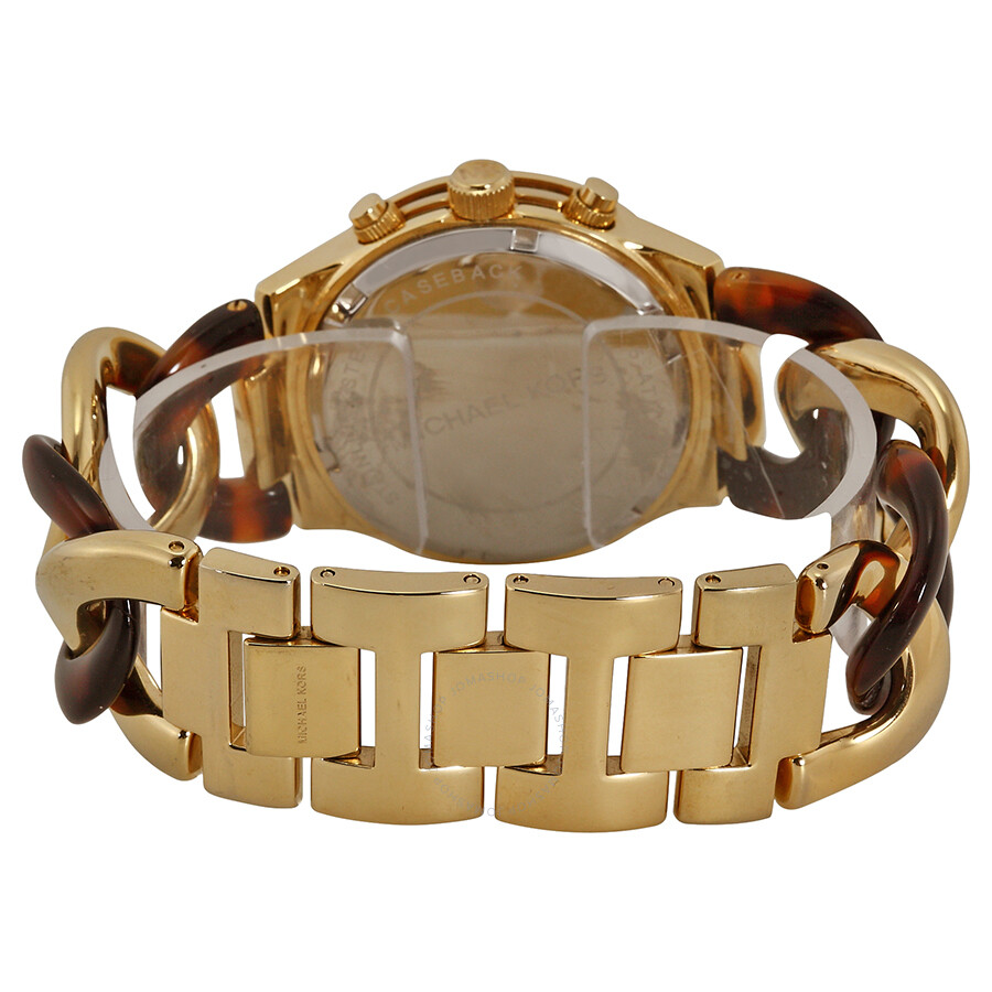 69ea0fceef61 Open Box - Michael Kors Runway Chain Link Acrylic Gold-tone Ladies Watch  MK4222