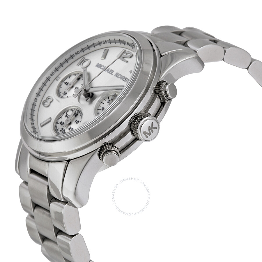 f7f684f51079 ... Open Box - Michael Kors Silver Midsized Chrono Ladies Watch MK5076 ...